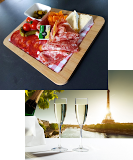 Plate of cold meats and champagne