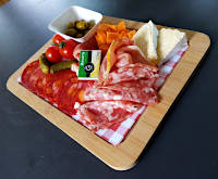 Plate of cold meats and cheeses